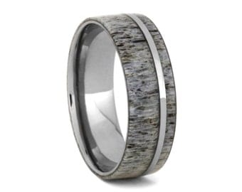 Titanium Ring inlaid with Deer Antler Inlay-Alternative Wedding Band, Ring Armor Included