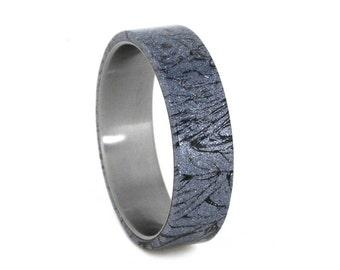 Womens Titanium Ring With A Mokume Overlay, Cobaltium Mokume Gane Wedding Band, Unique Ring For Women