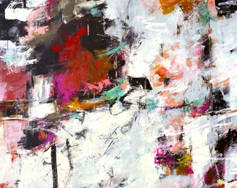 """ABSTRACT PAINTING """"Filigree"""" Acrylic 36"""" x 48""""  Modern Original Art Direct from the studio by Elizabeth Chapman"""