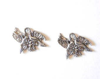 Pair of Pewter Lovebird Dove Charms