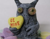 lowbrow one of a kind figure Valentines Day monster by mealy monster land Conversation heart