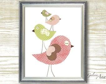 Nursery art prints - baby nursery decor - nursery wall art - Birds - Lovely Family print