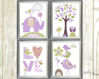 Purple green Girl Nursery Art Print nursery decor baby nursery kids art elephant nursery Birds heart tree love Set of 4 prints