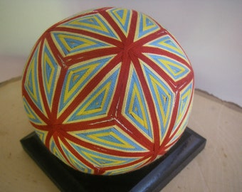 Hand made Temari ball (red, blue)