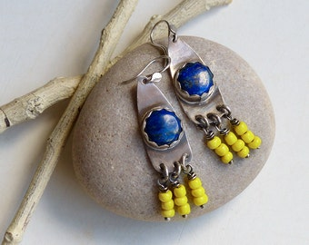 RESERVED...Lapis Lazuli & Sterling Silver Earrings with Yellow African Glass Bead Dangles . Rustic Southwest Boho Tribal Style Jewelry