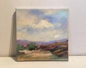 "Blue Mountain - Small Oil Painting - Original Oil Painting- 8 x 8 Painting- Original Oil Painting- 3/4"" painted edge"