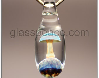 Glass Mushroom Bead Boro Lampwork Pendant- Glass Peace glass jewelry (6555)