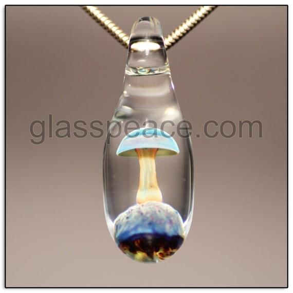 Glass Mushroom Bead Boro Lampwork Pendant- Glass Peace glass jewelry (6555)