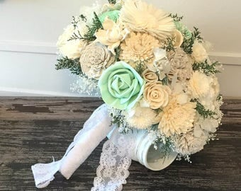 Mint  Wedding Bouquet -sola flowers - Customize colors -  Alternative bridal bouquet - bridesmaids - rustic - natural