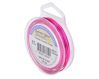 Artistic Wire 18 Gauge Silver-Plated Fuchsia 41310 Round 20 Feet Round Wire, Jewelry Wire, Craft Wire, Silver Plated Wire, Wire Wrapping
