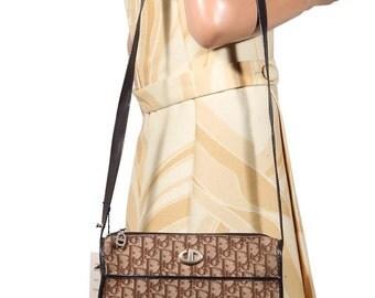 Authentic CHRISTIAN DIOR VINTAGE Brown logo tapestry shoulder bag messenger