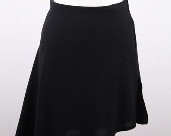 Authentic CHANEL BOUTIQUE Vintage Black Wool Blend ASYMMETRIC Mini skirt size 38