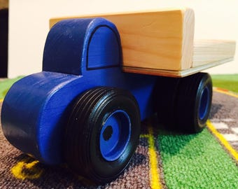Toy Truck - Wooden Farm Work Truck Blue with Dual Wheel on Rear - Handcrafted Toy Wooden Blue Farm Work Truck with Dual Wheels- Hauler Truck