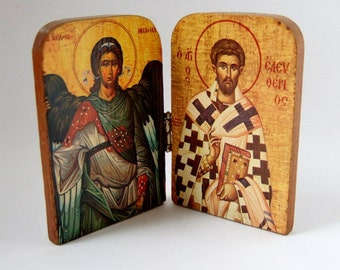 Religious Icons - Hinged Wooden Icons of Angel and Saint - Religious Kitsch