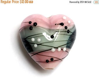 ON SALE 40% OFF Handmade Glass Lampwork Bead - 11836005 Princess Party Heart