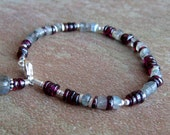 Labradorite Garnet Sterling Silver Bracelet, Semi Precious Stone, Blue Flash Labradorite, Wine Red Garnet