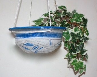 "Ceramic  Hanging Planter Carved Glazed Stoneware 8"" Diameter  Air Plant Platform or Succulent Planter Blue and White OAAK"
