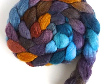 Merino/ Silk Roving (Top) - Handpainted Spinning or Felting Fiber, Reflections on Mirror Lake
