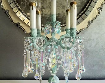 Reserved for Sheryl - Antique Brass and Crystal Candelabra, Ocean Blue Aqua Table Chandelier, Vintage Lighting, Aqua Crystal Lamp