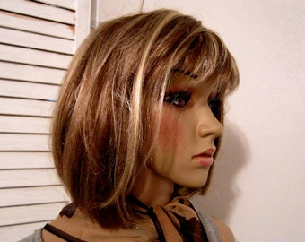Ladies Wig Brown-Blond Highlights Synthetic Fiber Women Wig