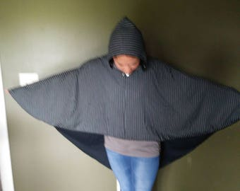 Half price sale New black/gray hooded cape cover up with grommets -medium size 14.