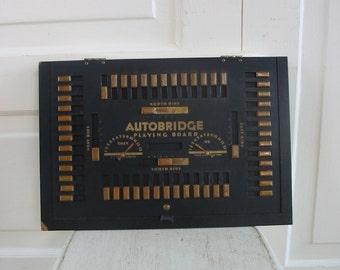 Vintage Autobridge Playing Board, Bridge Card Game, Vintage Card Game, Metal Sign, Industrial Decor, Vintage Black Sign, Mid Century Sign