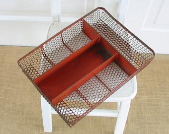 Vintage Metal Caddy Tray, Silverware Caddy, Utensil Caddy, Vintage Utensil Tray, Metal Industrial Tray, Industrial Basket, Red Metal Basket