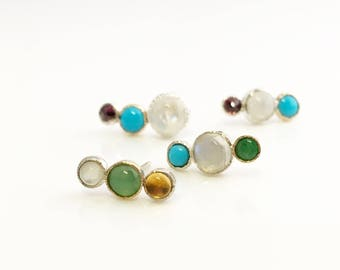 CC Climber Stud Earring | READY to SHIP | Citrine, Chrysoprase and Mother of Pearl post earring