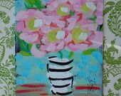 """Abstract Painting Pink Roses Ready to Ship YelliKelli 8"""" x10"""""""