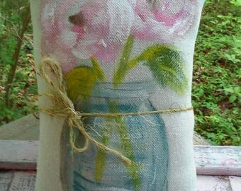 Rustic Roses In Jar Hand Painted Pillow  Ready to Ship Gift Idea YelliKelli
