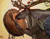 SHAPESHIFTER ※ Northern Sami Scandinavian Shaman Reindeer Birch Drum Mushroom Antler Feather Fish Snake Human Animals