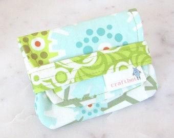 Birth Control Case, Birth Control Holder, Pill Sleeve, Aqua Floral Pill Wallet, Birth Control Pouch, Pill Pouch, Green Floral Heather Bailey