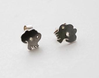 Tiny Tattoo Skully Earrings