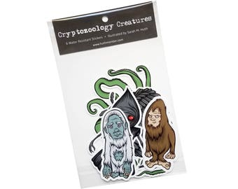 Cryptozoology Creatures - Pack of 6 Stickers