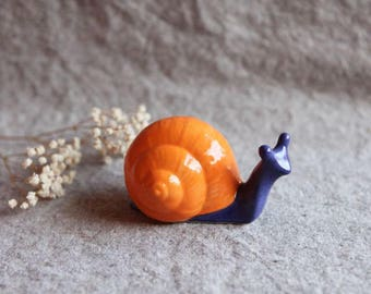 Snail Garden Sculpture in Stoneware with Orange and Cobalt Blue Glaze (small)