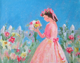 Original Painting On Canvas * Girl In The Garden * Wall Hanging