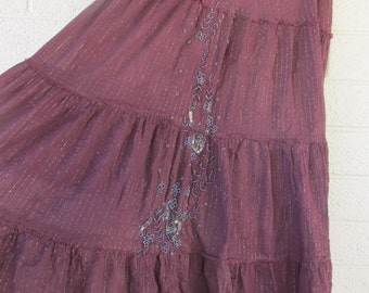 Burgundy embroidered hippie skirt Womens zipper enclosure small upcycled