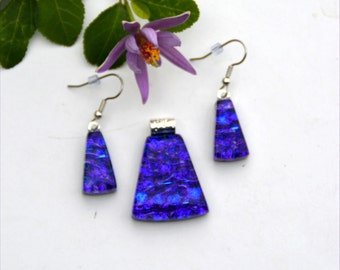 Fused dichroic glass pendant and earring set, three layers, dark blue, purple, hearts