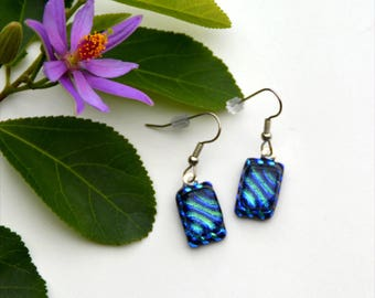 165 Fused dichroic glass earrings blue green striped