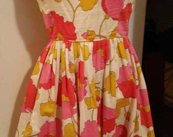 1960s Spring Dress pink orange yellow cream