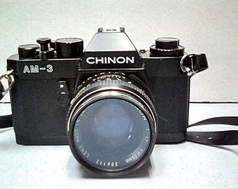 Vintage Film Tested Black Chinon AM-3 35mm Camera with Leather Case