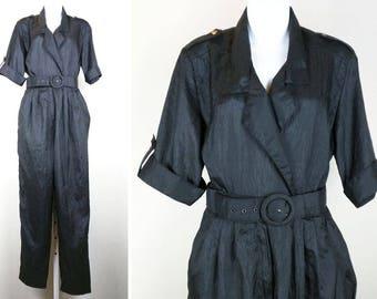 Vintage Black High Waist Jumpsuit Belt 12 M L