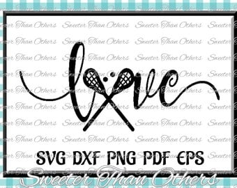 Lacrosse Love SVG htv T shirt Design Vinyl  (SVG and DXF Files) Electronic Cutting Machines, Silhouette, Cameo, Cricut, Instant Download