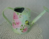 Watering Can Hand Painted Pink Roses Yellow Bird Decorative Home Accent Goldfinch