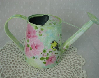 Watering Can Hand Painted Pink Roses Yellow Bird Decorative Home Accent