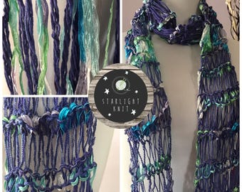 Hand Knit Hand Crafted Ladies Lightweight Fashion Accessory Scarf in Purples and light greens with blues