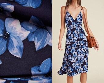 Vintage 90s Floral Blue Wrap Midi Dress
