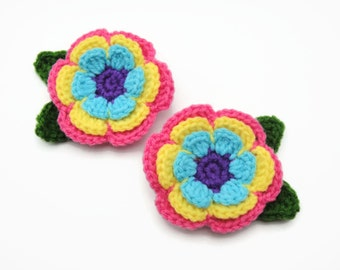 Hair Clip Accessories for Girls Children Handmade Crochet Flower (CF015)