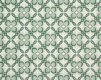 1940s Vintage Wallpaper Green and White on Green Geometric by the Yard