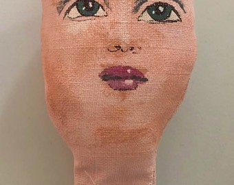 handmade doll face PAINTED supplies supply small craft parts body head DIY fabric stuffed girl woman child